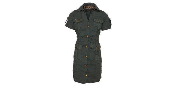 Dámské olivové šaty Lois s límečkem a rukávky
