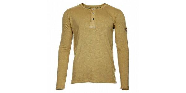Pánské béžové tričko Bushman s dlouhým rukávem a knoflíčky