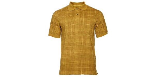 Pánské hnědožluté kostkované polo tričko Bushman