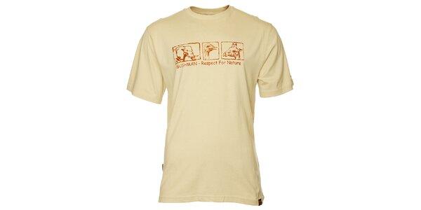 Pánské krémové tričko Bushman s potiskem