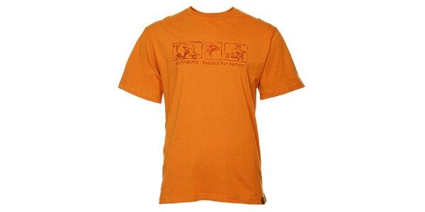 Pánské oranžové tričko Bushman s potiskem