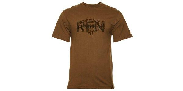 Pánské hnědozelené tričko Bushman s potiskem