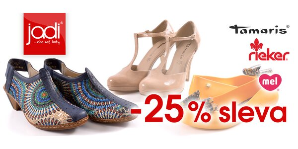 25% sleva na zboží Rieker, Tamaris a Mel na JADI.cz