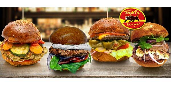 Netradiční burger dle výběru v Tom's Burger