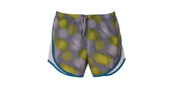 Dámské šedo-žluté vzorované šortky s lemem Nike