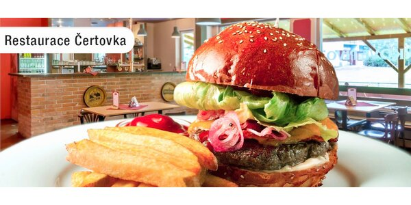 Dva 200g burgery a hranolky v Čertovce
