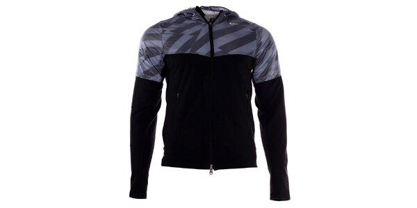 Pánská šedo-černá bunda Nike s kapucí