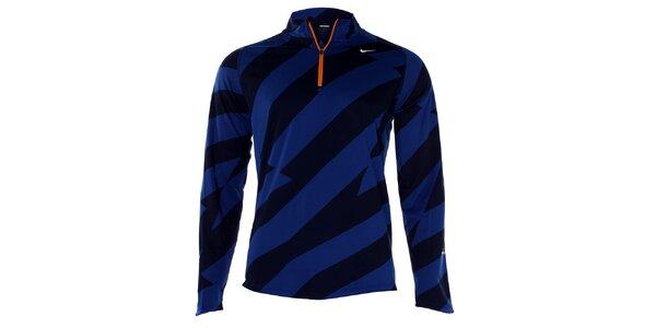Pánské modro-černé tričko Nike s dlouhým rukávem
