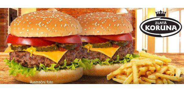 Domácí hovězí burgery a steakové hranolky