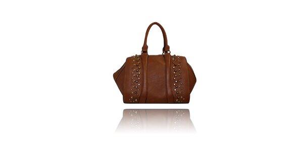 Dámská hnědá kabelka London Fashion s kovovými cvoky