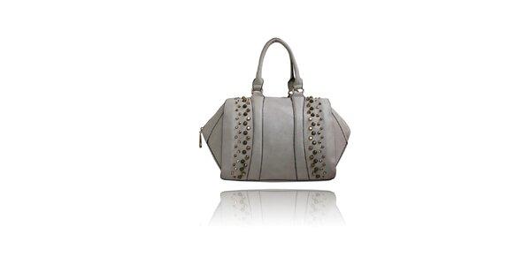 Dámská světle šedá kabelka London Fashion s kovovými cvoky