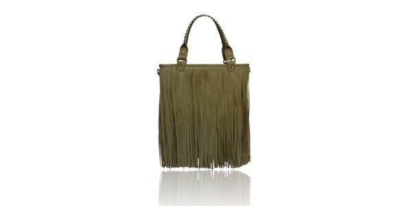 Dámská hnědošedá kabelka London Fashion s třásněmi