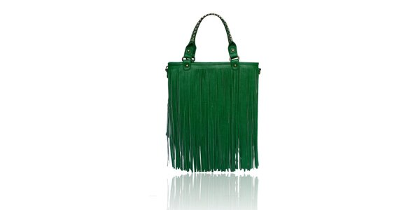 Dámská zelená kabelka London Fashion s třásněmi