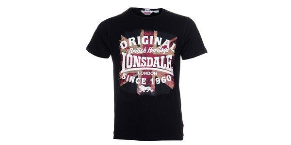 Pánské černé tričko Lonsdale s barevným potiskem