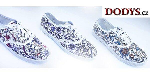 Dámské plátěné květované boty