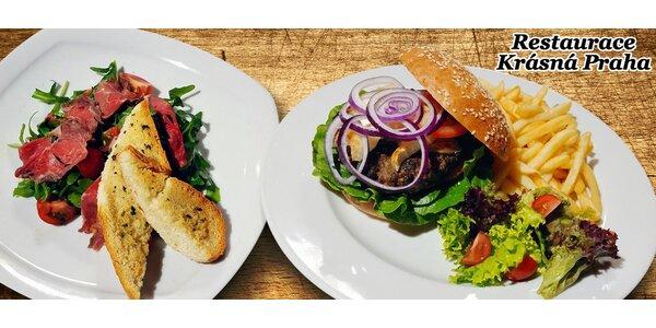 Bohaté burgerové menu pro 2 osoby