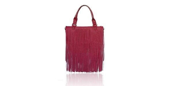 Dámská růžová kabelka London Fashion s třásněmi