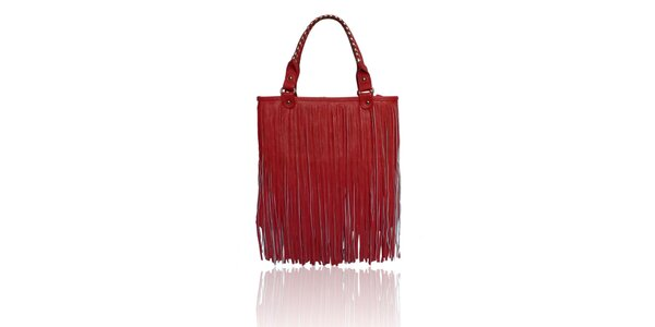 Dámská červená kabelka London Fashion s třásněmi