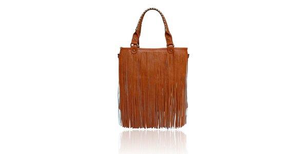Dámská oranžovohnědá kabelka London Fashion s třásněmi