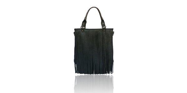 Dámská tmavě šedá kabelka London Fashion s třásněmi