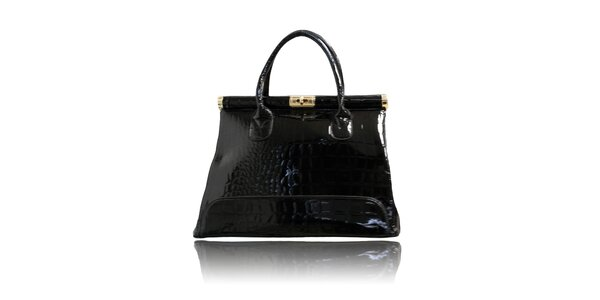 Dámská černá lakovaná kabelka London Fashion s krokodýlím vzorem