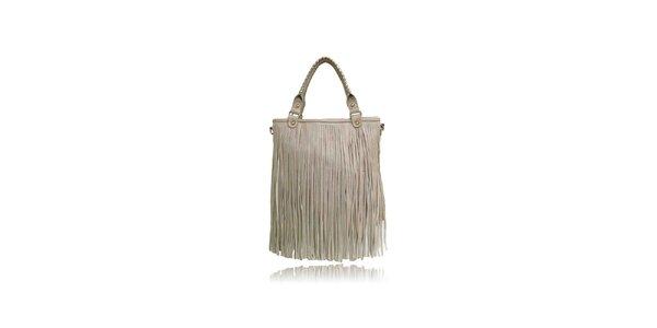 Dámská béžová kabelka London Fashion s třásněmi