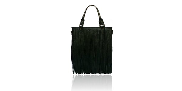 Dámská černá kabelka London Fashion s třásněmi