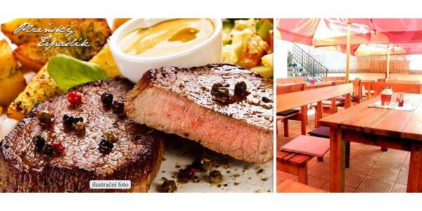 2 steaky s přílohou a omáčkou dle výběru