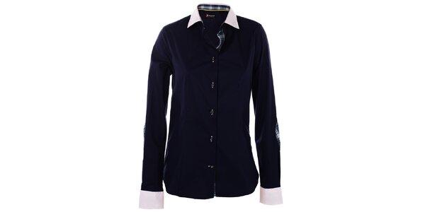 Dámská tmavě modrá košile 7camicie s bílým límečkem a kostkovanými detaily