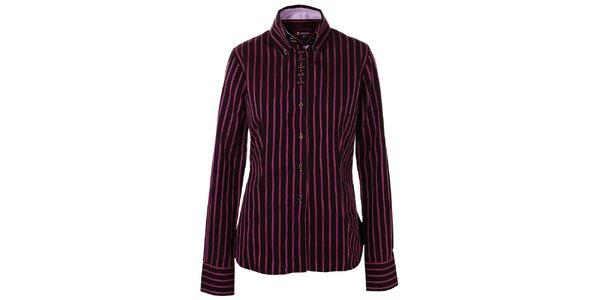 Dámská černá košile 7camicie s růžovými proužky