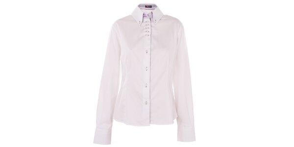 Dámská bílá košile 7camicie s modrou proužkovanou légou