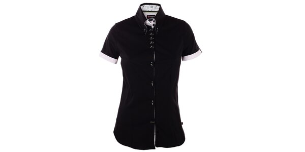 Dámská černá košile 7camicie s kytičkovanou légou