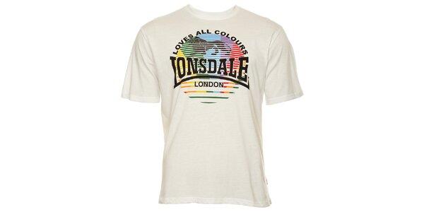 Pánské bílé tričko s krátkým rukávem a potiskem Lonsdale