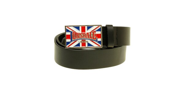 Pánský černý pásek se sponou Lonsdale