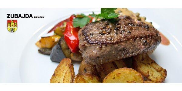 Argentinské steaky pro dva, omáčka a grenaille