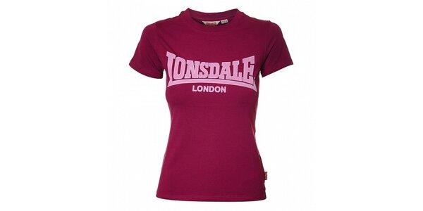 Dámské purpurové tričko Lonsdale se semišovým potiskem