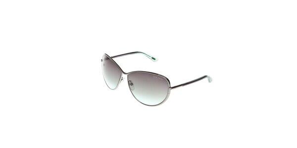 Dámské sluneční brýle Tom Ford se stříbrnými obroučkami a zelenošedými skly