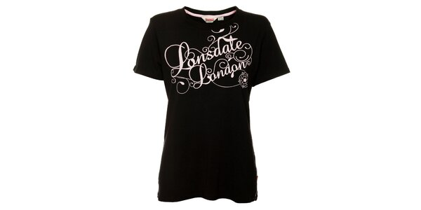 Dámské černé tričko s krátkým rukávem Lonsdale s růžovým potiskem