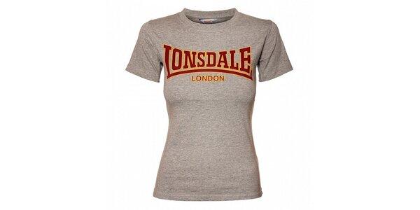 Dámské šedé melírované tričko Lonsdale se semišovým potiskem