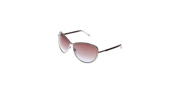 Dámské sluneční brýle Tom Ford se stříbrnými obroučkami asvětlými kouřovými…