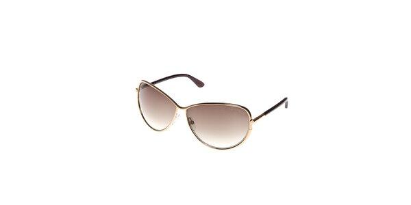 Dámské sluneční brýle Tom Ford se zlatými obroučkami a kouřovými skly