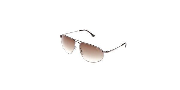 Sluneční brýle Tom Ford se stříbrnými obroučkami