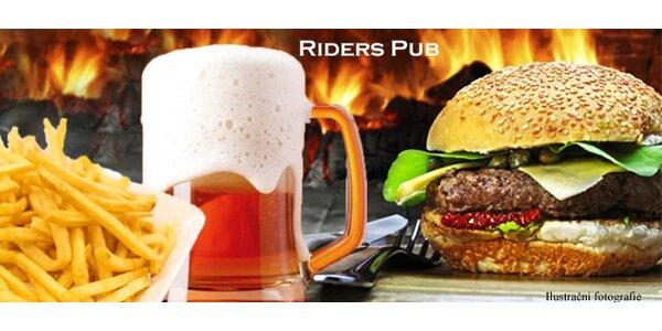 2x Riders Megaburger a 2x Velkopopovický Kozel 11st.