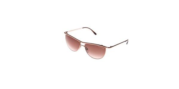 Dámské sluneční brýle Tom Ford s kovovými obroučkami v barvě mědi