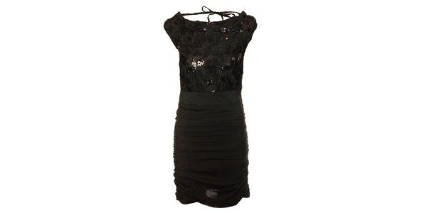 Dámské černé šaty Lucy Paris s flitry s růžičkami
