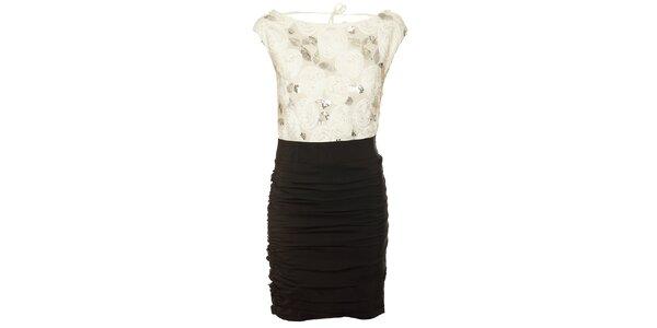 Dámské černo-bílé šaty Lucy Paris s flitry s růžičkami