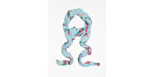 Dámský světle modrý šátek s kytičkovým vzorem Bella Rosa