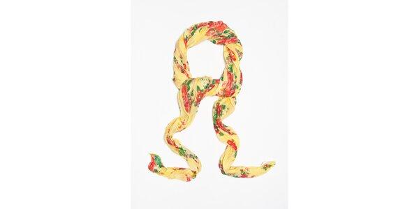 Dámský světle žlutý šátek s kytičkovým vzorem Bella Rosa