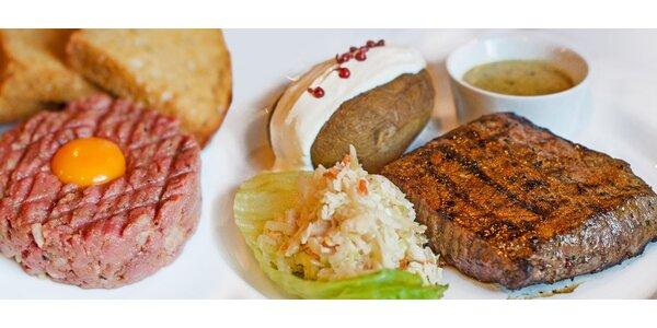 2× jihoamerický steak, předkrm a láhev vína