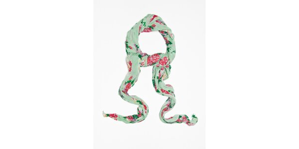 Dámský světle zelený šátek s kytičkovým vzorem Bella Rosa